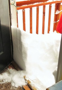 Shoveling begins at the door.